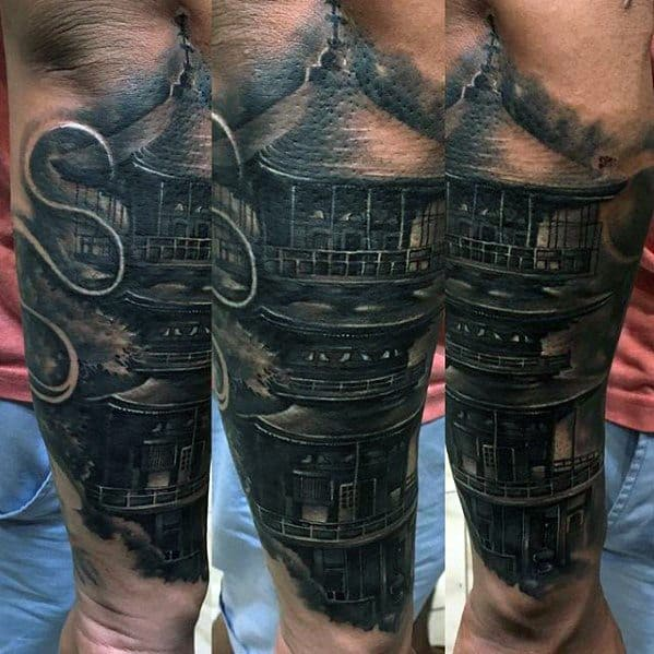 Guy With Pagoda Tattoo Design