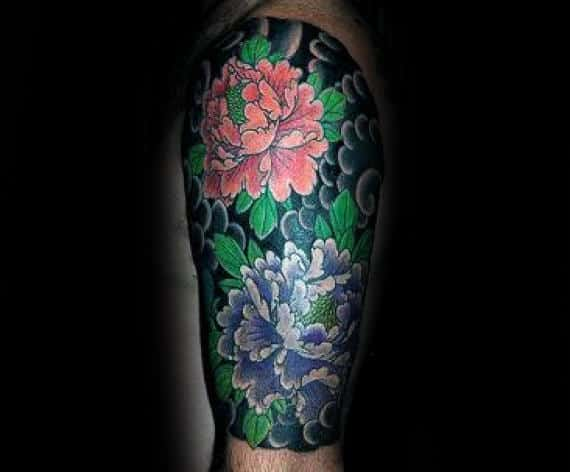 Guy With Peony Flower Half Sleeve Tattoo Japanese Clouds