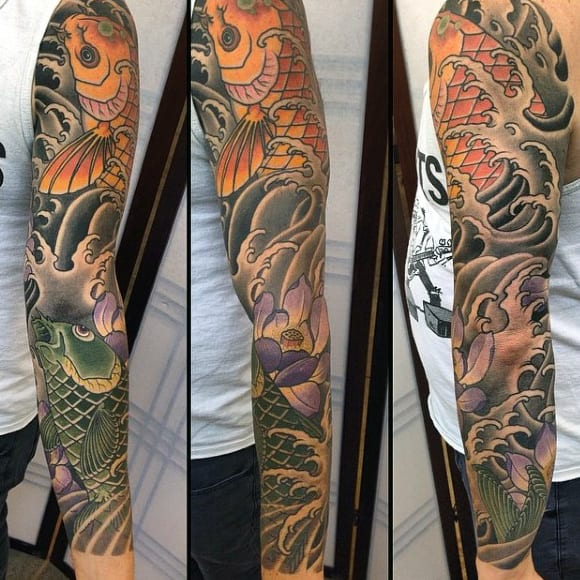 Guy With Phenomenal Japanese Sleeve Tattoo