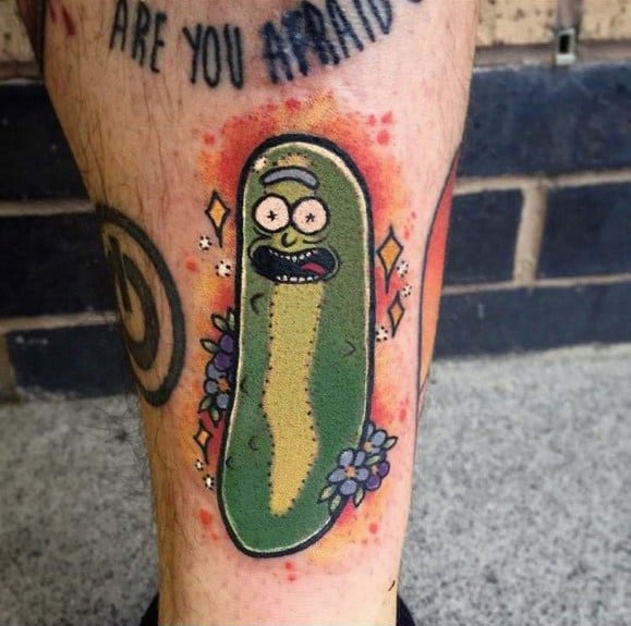 Guy With Pickle Rick Tattoo On Lower Leg