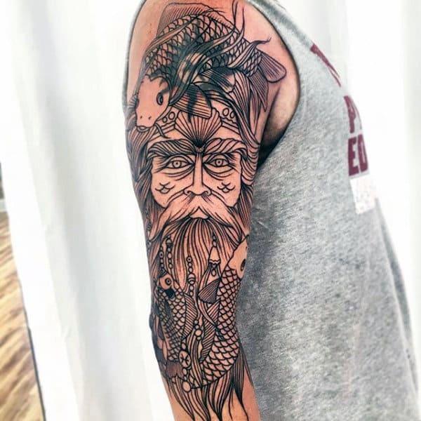 Guy With Pisces Half Sleeve Warrior Tattoo Design