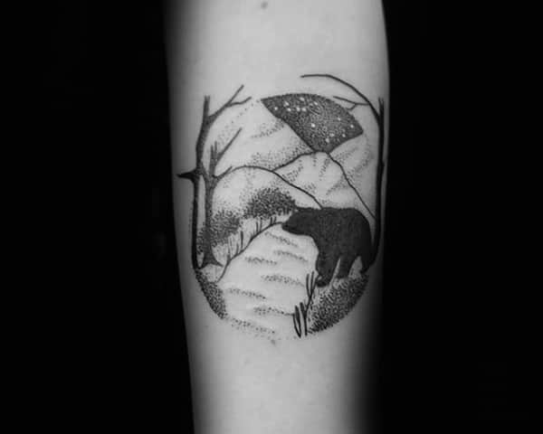 Guy With Polar Bear Forest Arm Tattoo