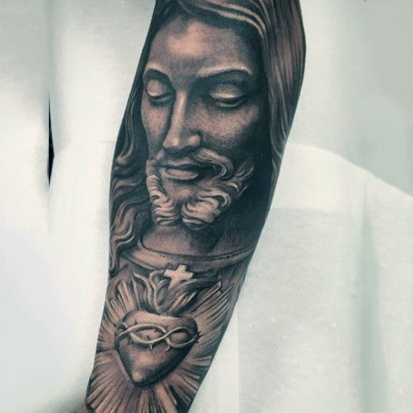 Guy With Praying God Religious Tattoo Sleeves