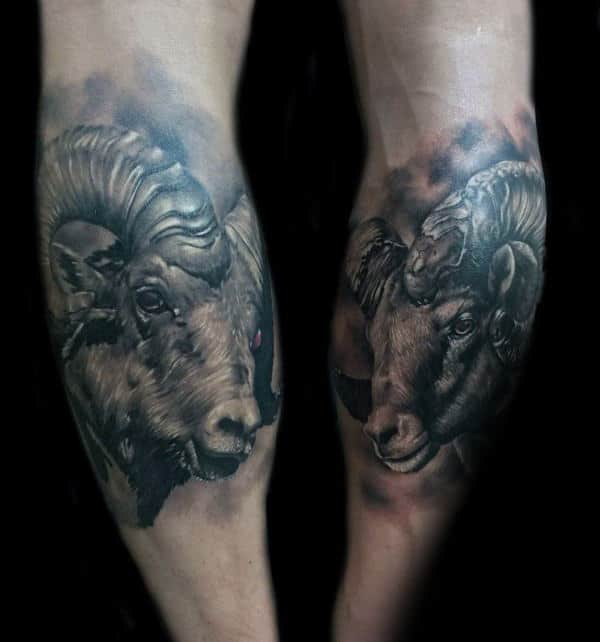 Guy With Ram Back Of Leg Calf Tattoos Realistic Design