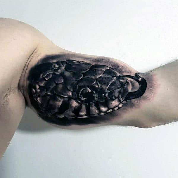 Guy With Realistic Animal Snake Head Tattoo On Bicep