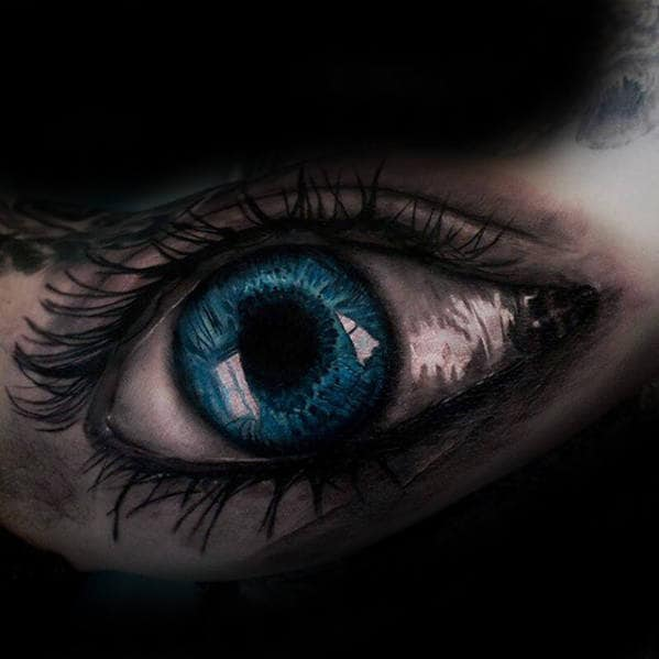 Guy With Realistic Blue Eye Inner Arm Tattoo