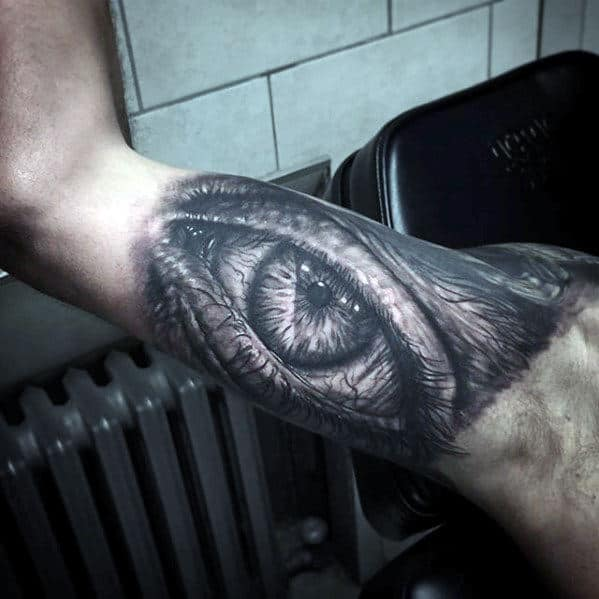 Guy With Realistic Eye Quarter Sleeve Tattoo