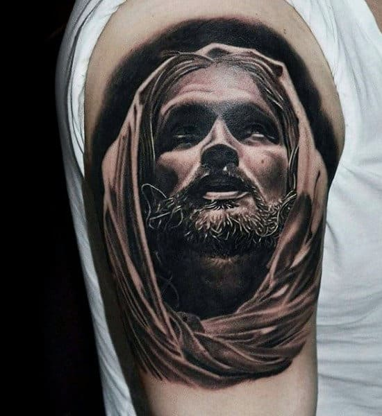 Guy With Realistic Jesus Portrait On Upper Arm Quarter Sleeve Design