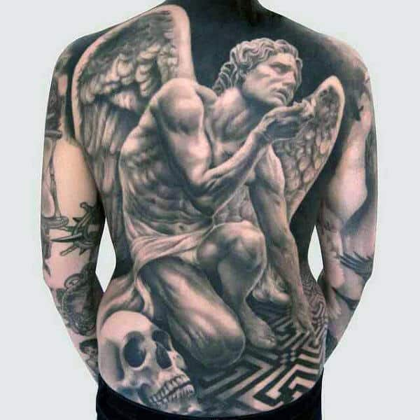 Guy With Realistic Marble Winged Greek God Tattoo
