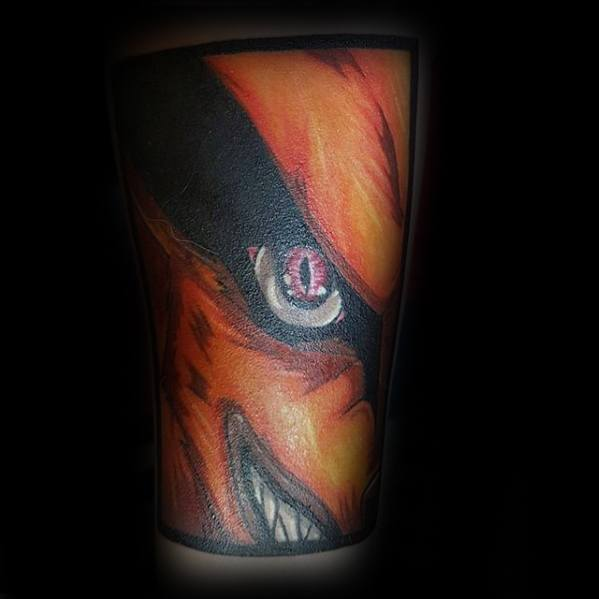 Guy With Rectangle Anime Forearm Tattoo Design