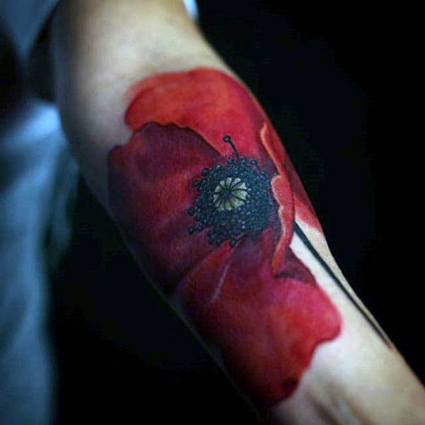 Guy With Red Detailed Poppy Flower Inner Wrist Tattoo