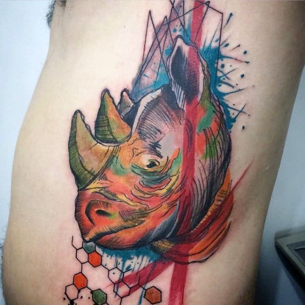 Guy With Rhino Abstract Rib Cage Side Tattoo