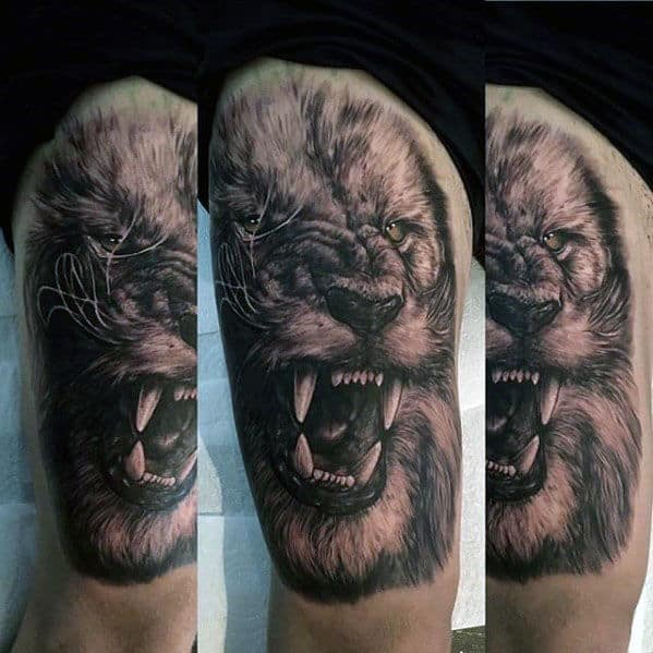 Guy With Roaring Lion Realistic Thigh Tattoo