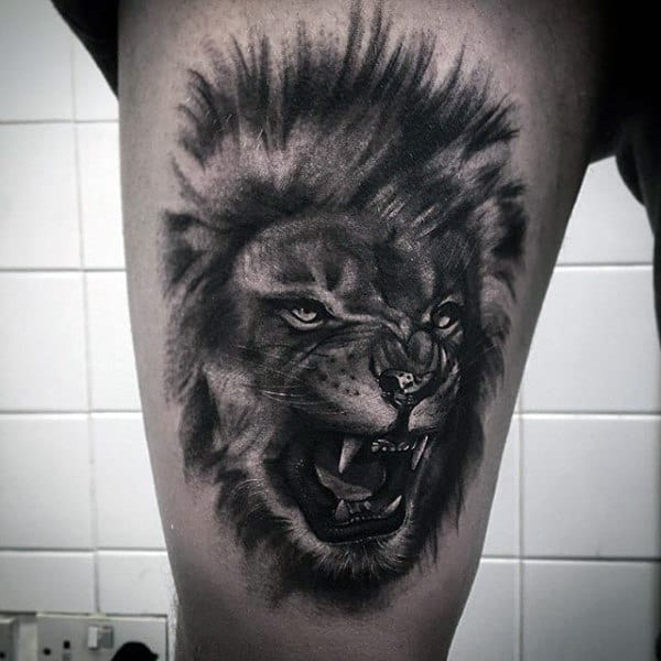 Guy With Roaring Lion Shaded Black Ink Lion Tattoo Design
