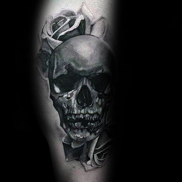 Guy With Rose Flower Realistic Skull Tattoo Design On Leg