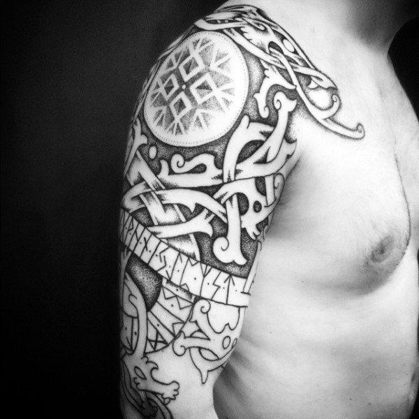Guy With Rune Half Sleeve Tattoo