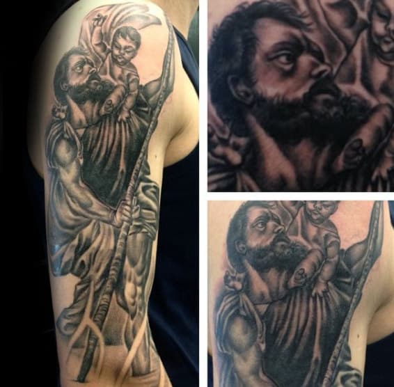 Guy With Saint Christopher Half Sleeve Tattoo Design