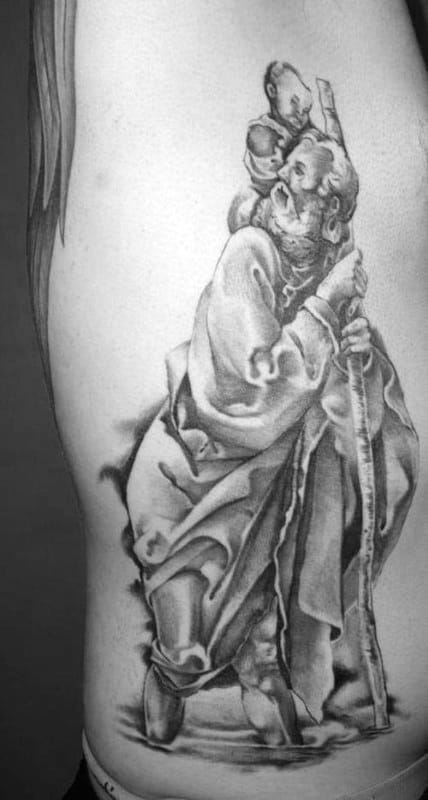 Guy With Saint Christopher Shaded Black And Light Grey Ink Rib Cage Side Tattoo
