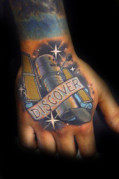 Guy With Satellite Discover Banner Tattoo Design On Hand