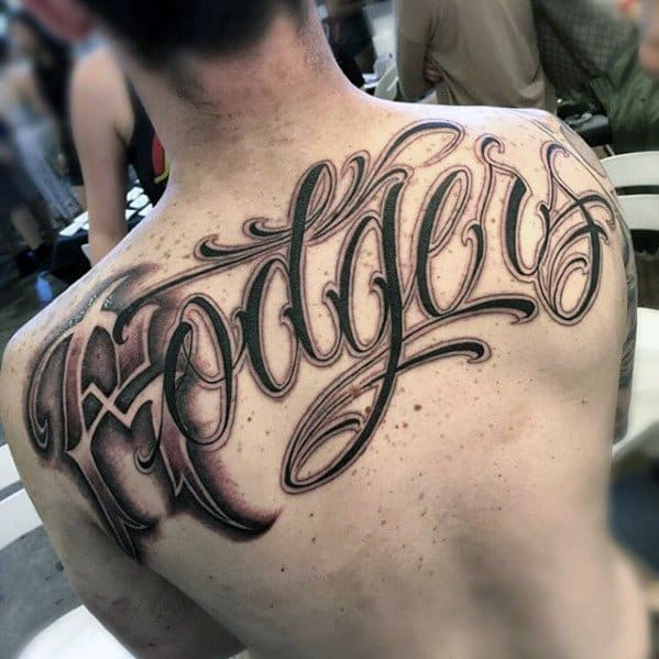 Guy With Script Ornate Unique Back Lettering Tattoo Design