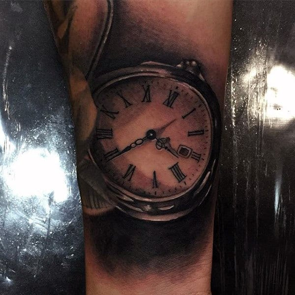 Guy With Sepia Toned Pocket Watch Tattoo On Forearms