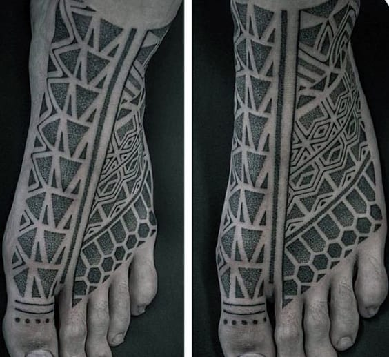 Guy With Shaded And Dotted Grey Design Tattoo Foot