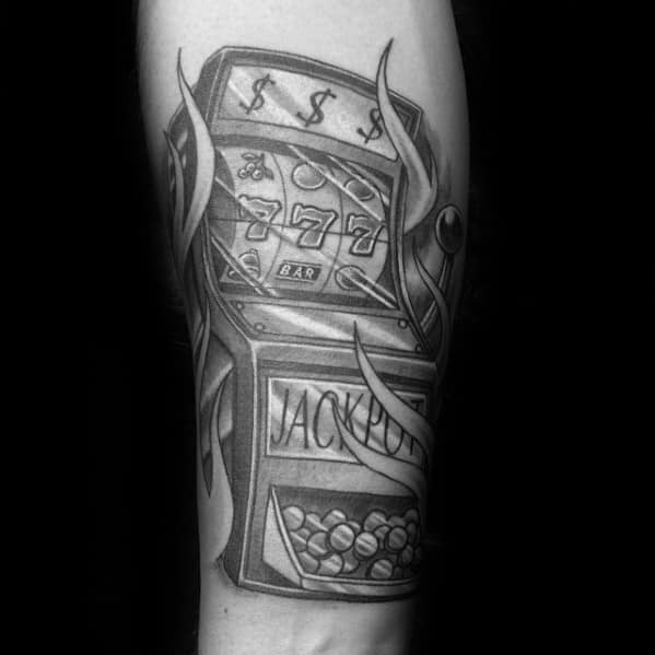 Guy With Shaded Black And Grey Ink Slot Machine Inner Forearm Tattoo Design