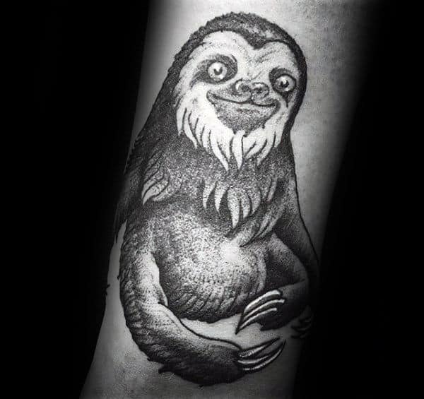Guy With Shaded Black And Grey Ink Sloth Forearm Tattoo