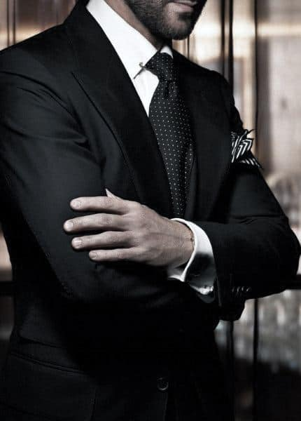 Guy With Sharp Looking Black Suit Outfit