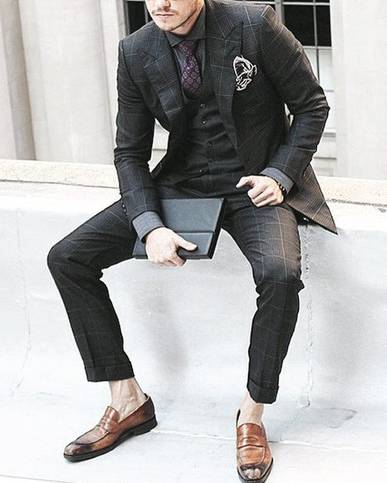 Guy With Sharp Looking Charcoal Grey Suit Brown Shoes Outfit