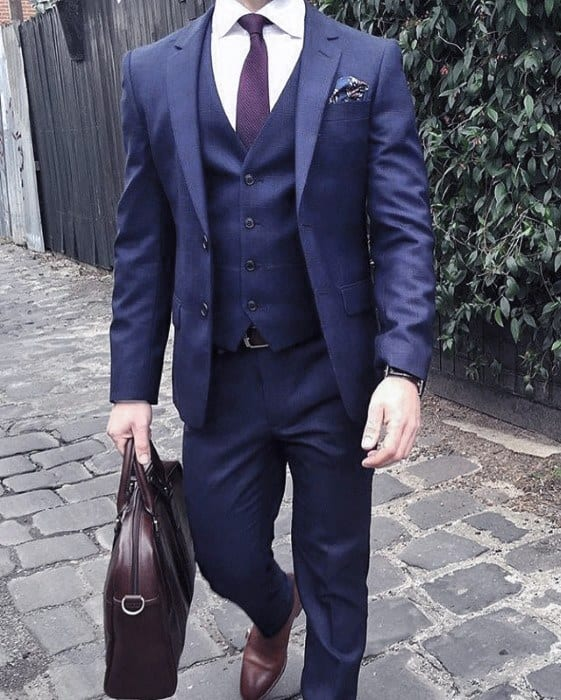 Guy With Sharp Looking Three Piece Navy Blue Suit Brown Shoes Outfit