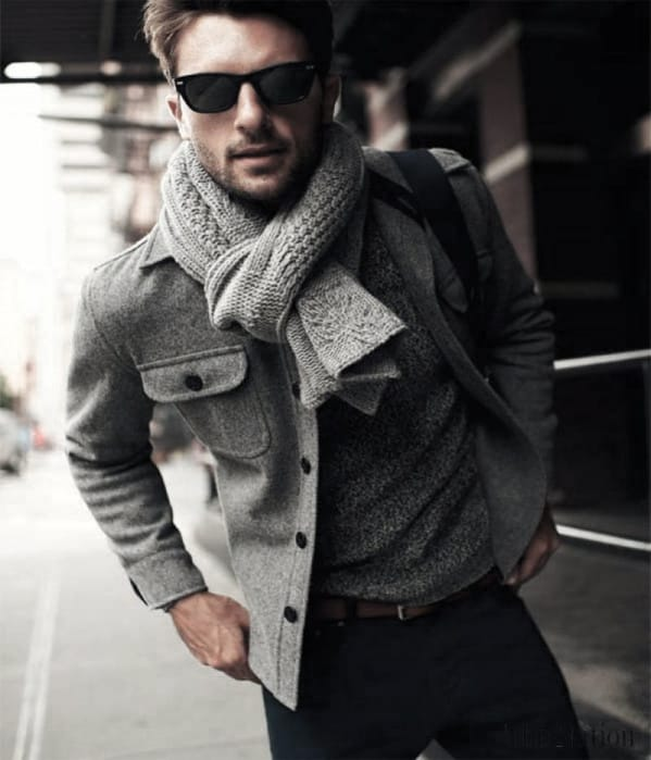 Guy With Sharp Looking Winter Outfits Outfit Grey Scarf And Jacket