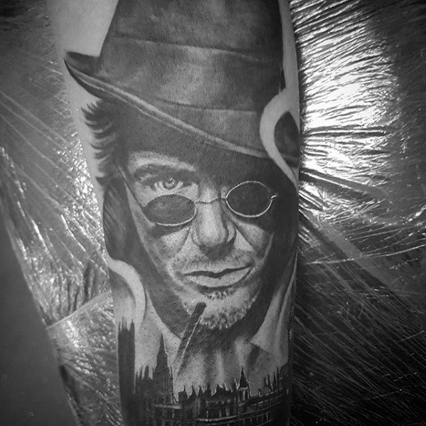 Guy With Sherlock Holmes Forearm Sleeve Tattoo Design