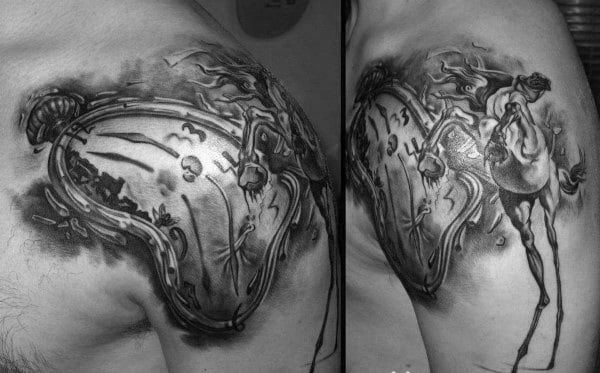 Guy With Shoulder Cap Melting Clock Tattoo
