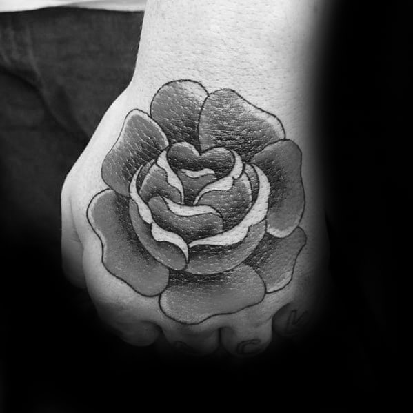 Guy With Simple Hand Retro Rose Flower Tattoo Design