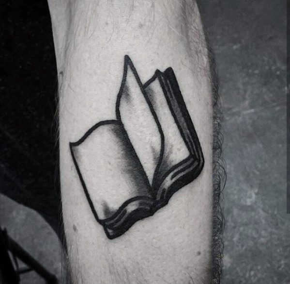 Guy With Simple Traditional Book Shaded Forearm Tattoo Design