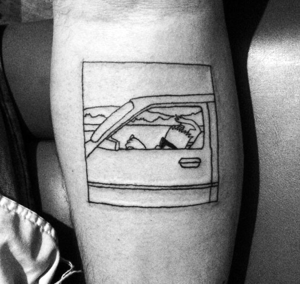 Guy With Simpsons Bart Driving Car Square Simple Tattoo