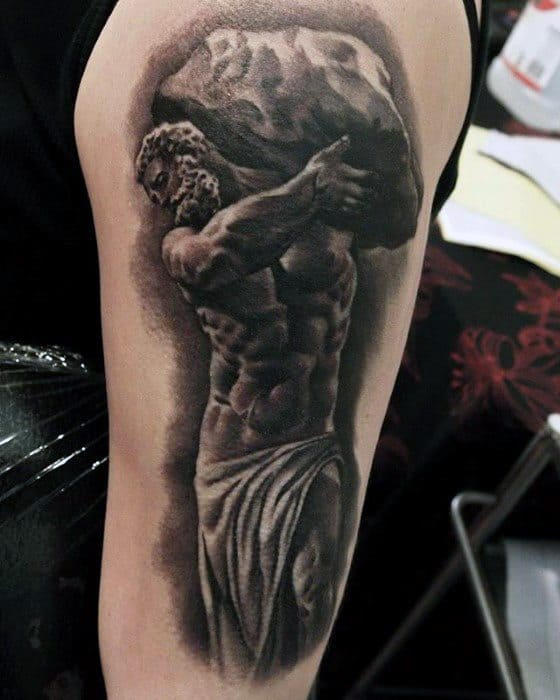 Guy With Sisyphus Tattoo Design