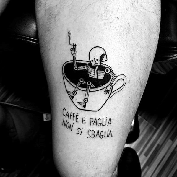 Guy With Skeleton Inside Coffee Cup Leg Tattoo Design