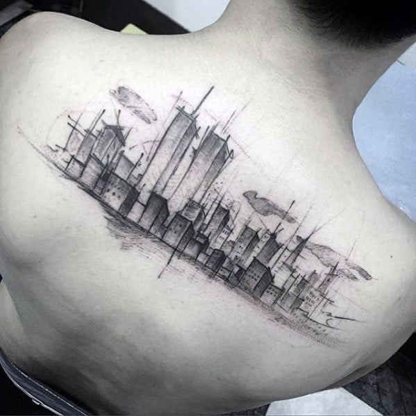 Guy With Sketched Watercolor Skyline New York Upper Back Tattoos