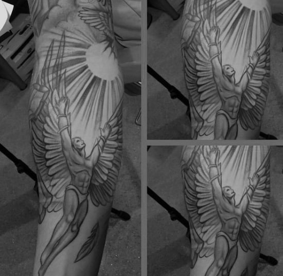 Guy With Sksetched Style Icarus Sleeve Tattoo Design