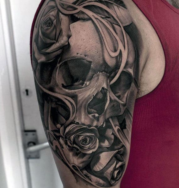 Guy With Skull And Rose Quarter Sleeve Tattoo