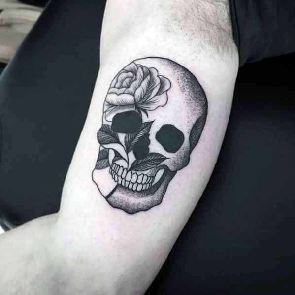 Guy With Skull Rose Flower Detailed Small Inner Arm Bicep Tattoo