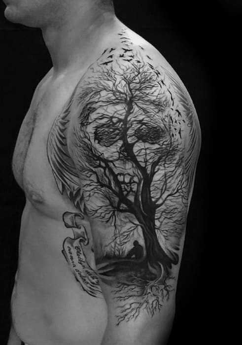 Guy With Skull Tree Optical Illusion Arm Tattoo Design