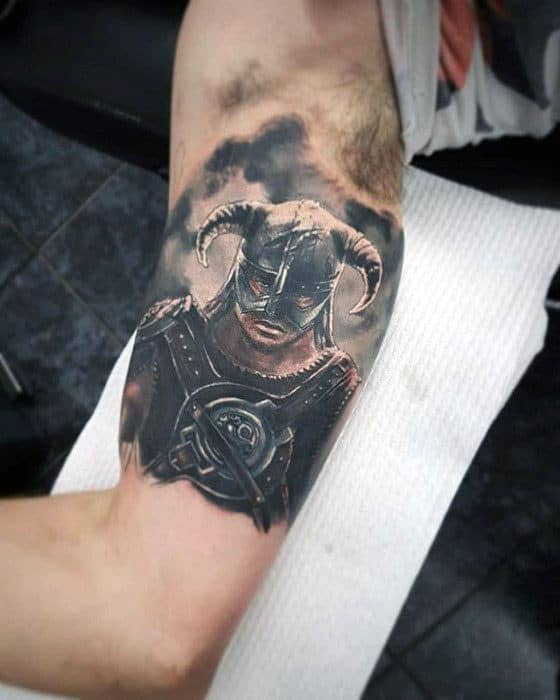 Guy With Skyrim Tattoo Design Quarter Sleeve