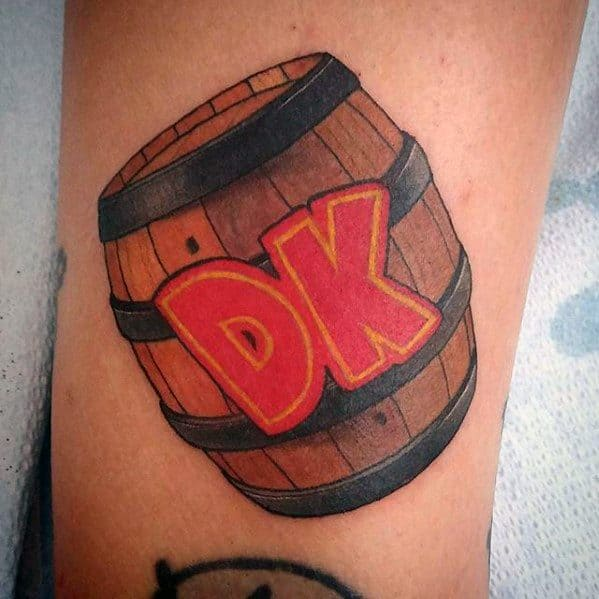 Guy With Small Forearm Donkey Kong Tattoo Design