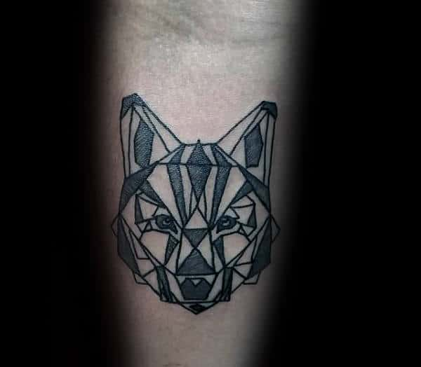Guy With Small Simple Geometric Wolf Inner Arm Tattoos
