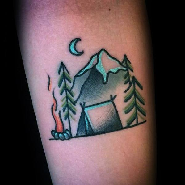 Guy With Small Simple Inner Forearm Tent Tattoo Design