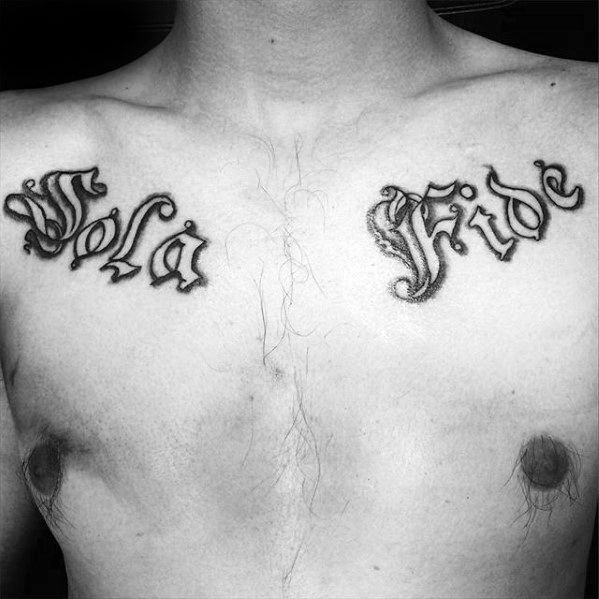 Guy With Sola Fide Latin Upper Chest Tattoo Design