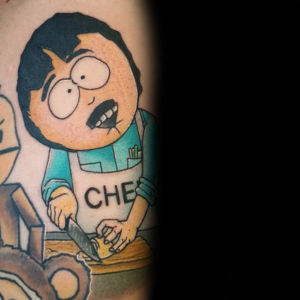 Guy With South Park Tattoo Sharon Marsh With Chef Apron